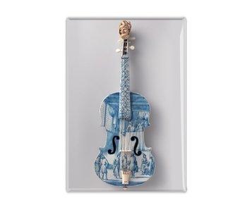 Imán de nevera, violín azul de Delft