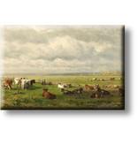 Kühlschrankmagnet, Weidelandschaft mit Vieh, Dächer
