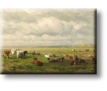 Aimant de réfrigérateur, paysage de pâturage avec du bétail, Roelofs