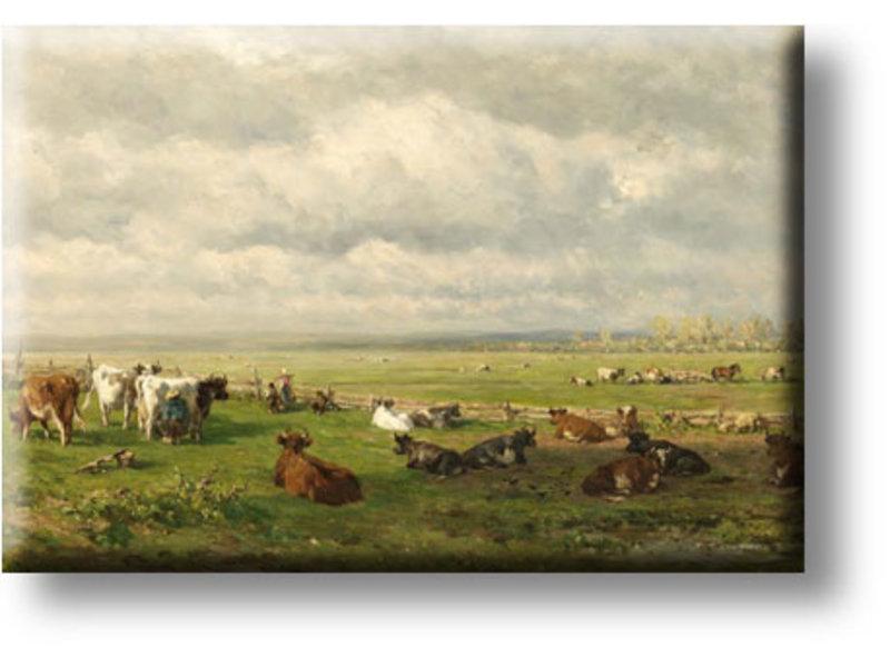 Imán de nevera, Paisaje de pasto con ganado, Roelofs