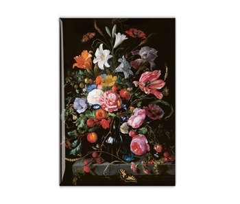 Fridge magnet, Still life with flowers in a glass vase, De Heem