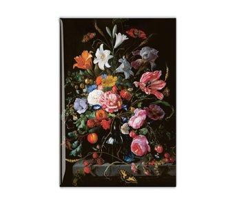 Koelkastmagneet, Stilleven met bloemen in een glazen vaas, De Heem
