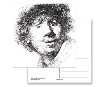 Postcard, Self Portrait with Curious Face, Rembrandt