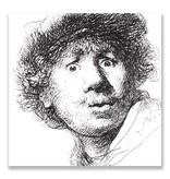 Ansichtkaart, Zelfportret met Verbaasde Blik, Rembrandt