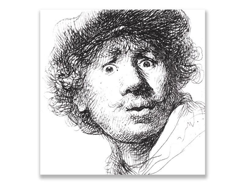 Postkarte, Selbstporträt mit überraschtem Aussehen, Rembrandt