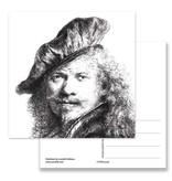 Postal, Autorretrato con boina, Rembrandt