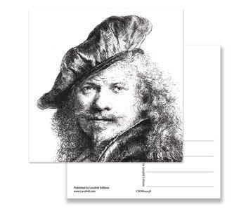 Postkarte, Selbstporträt mit Baskenmütze, Rembrandt