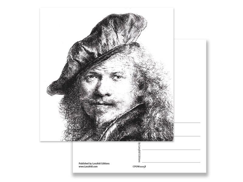 Postkarte, Selbstporträt mit Baskenmütze, Rembrandtt