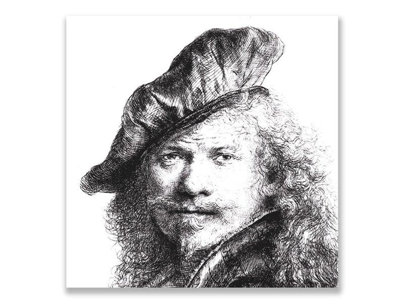 Ansichtkaart, Zelfportret met baret, Rembrandt