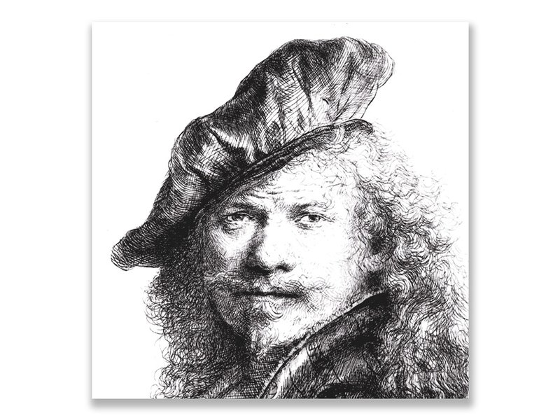 Postcard, Self portrait with beret, Rembrandt