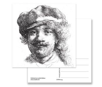 Postkarte, 1634 Selbstporträt mit Hut, Rembrandt