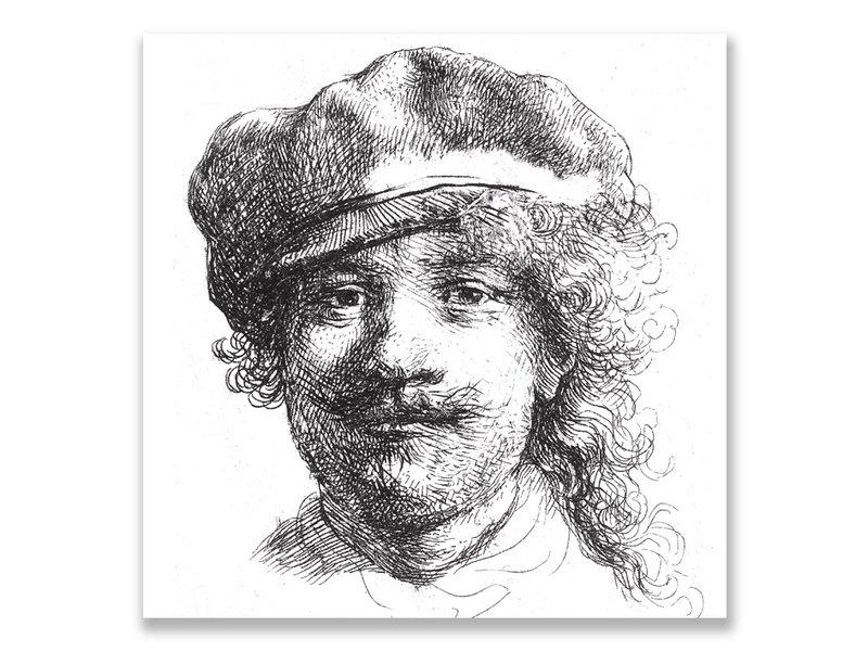Postcard, Self portrait with hat, Rembrandt