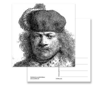 Ansichtkaart, 1634 Zelfportret  in rijk kostuum, Rembrandt