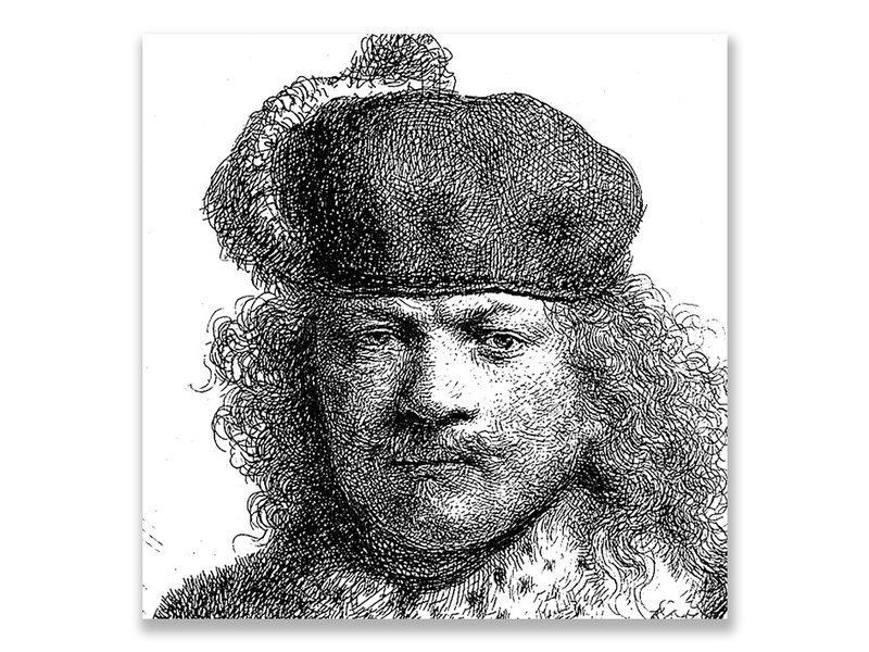 Postkarte, 1634 Selbstporträt in reichem Kostüm, Rembrandt