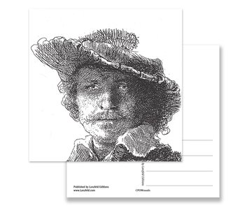 Postcard, Self portrait without Saskia, Rembrandt