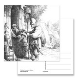 Postcard, The Pied Piper, Etch 1632, Rembrandt