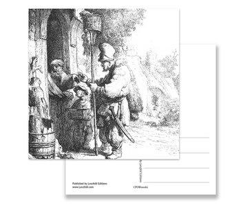Carte postale, le vendeur de poison de rat, Rembrandt, gravure 1632