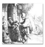 Ansichtkaart, De rattengifverkoper, Rembrandt, ets 1632
