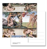 Ansichtkaart, Sixtijnse Kapel, Adam en Eva, Michelangelo