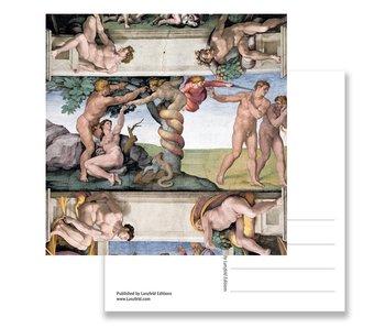 Carte postale, Chapelle Sixtine, Adam et Eve, Michel-Angee