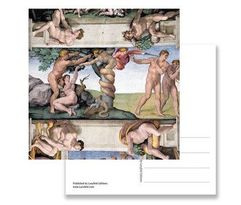 Postcard, Sistine chapel, Adam and Eve, MichealAngelo