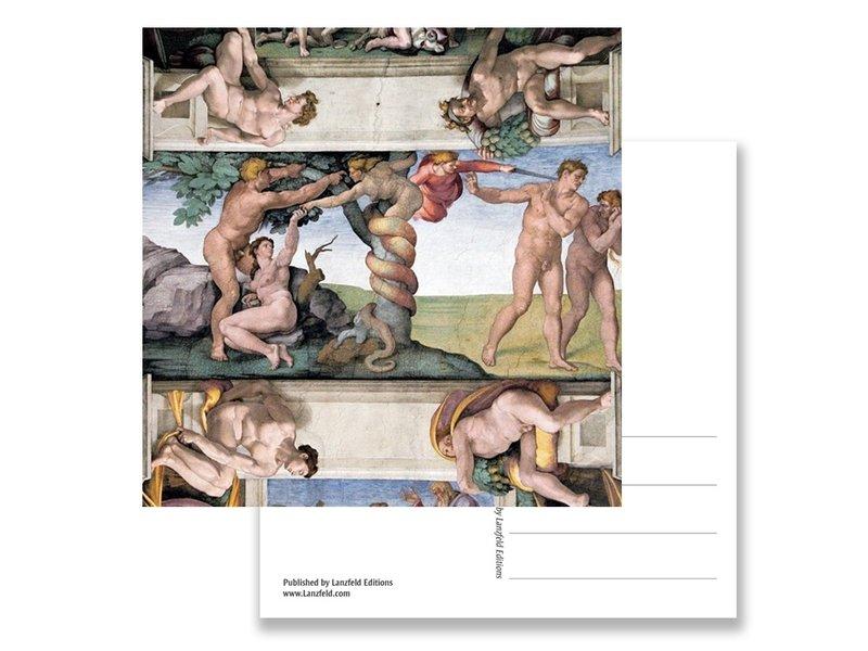 Postcard, Sistine chapel, Adam and Eve, MichealAngelo