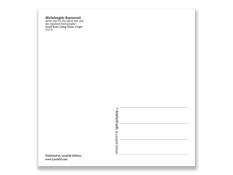 Carte postale, Chapelle Sixtine, Adam et Eve, Michel-Ange