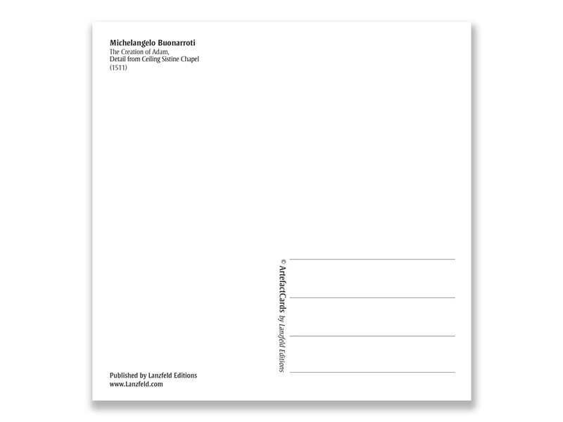 Carte postale, Chapelle Sixtine, Création d'Adam, Michel-Ange