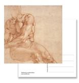 Ansichtkaart, Studie van zittende jongeman, Michelangelo