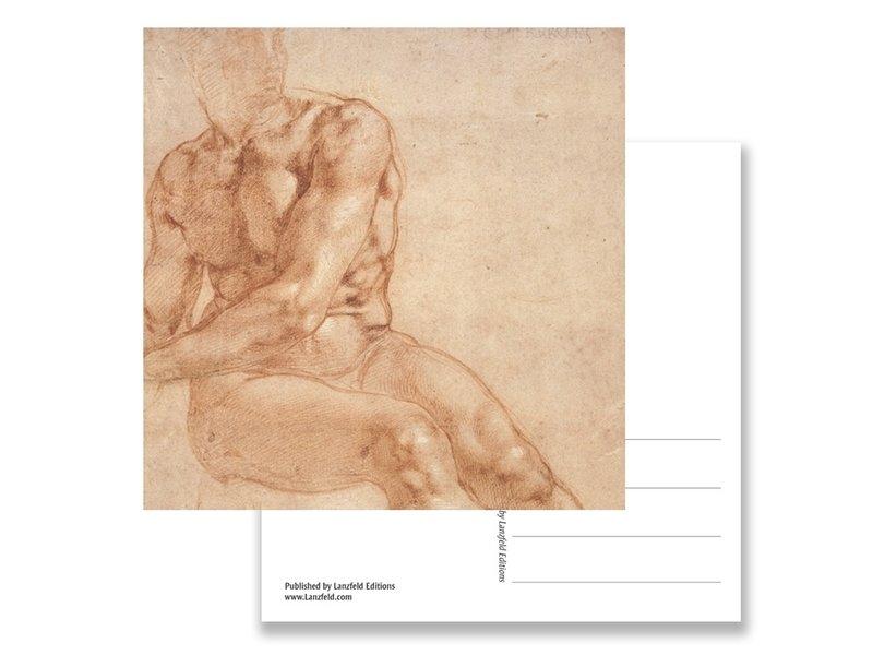 Postal, Estudio de un joven sentado, Miguel Ángel