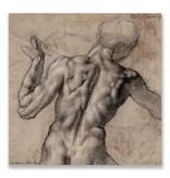 Postal, hombre desnudo, visto desde atrás, Miguel Ángel