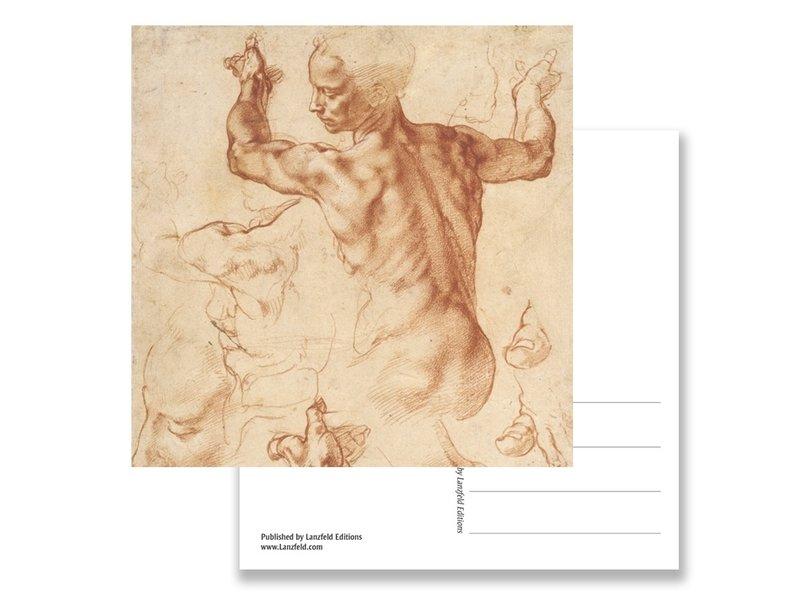 Ansichtkaart, Studies voor de Libische sybille, Michelangelo