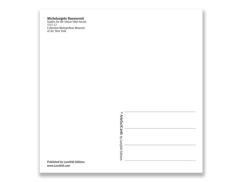 Postkarte, Studien für die libysche Sybille, Michelangelo