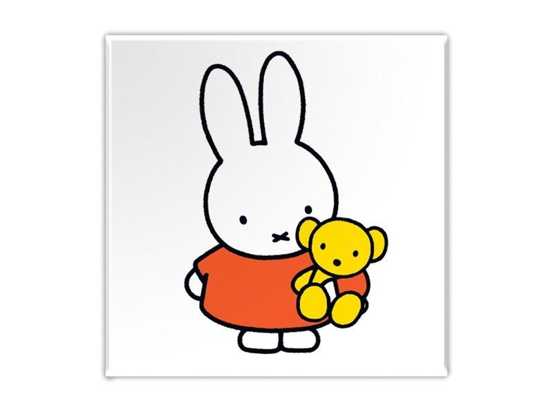 Kühlschrankmagnet, Miffy mit Teddybär