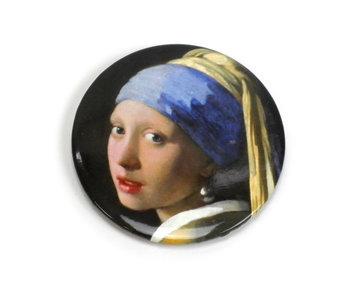 Miroir de poche Large, 80 mm, fille avec une boucle d'oreille en perle, Vermeer