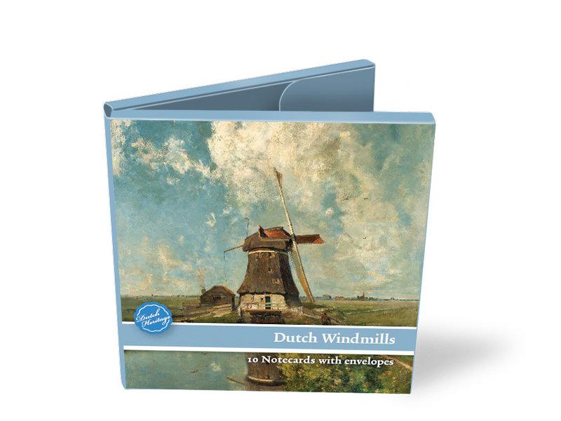 Carpeta de tarjetas, cuadrado, molinos de viento holandeses