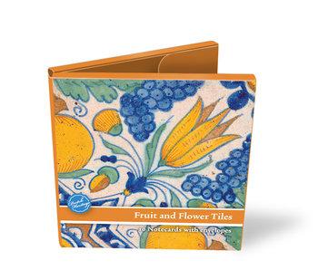 Kaartenmapje, Delfts blauwe tegels, Vruchten en bloemen
