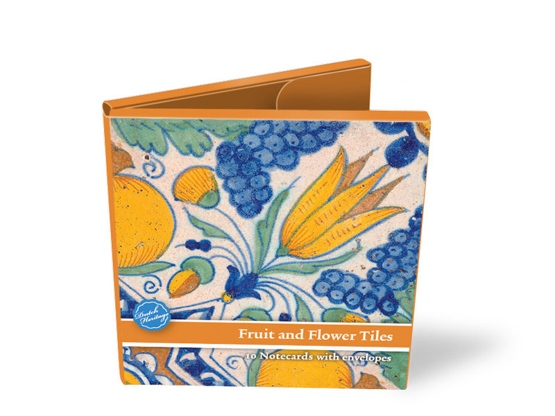 Card Wallet, Square, Delft Blue Tiles, Fruits and Flowers