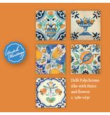 Kartenmappe, Delfter blaue Fliesen, Früchte und Blumen