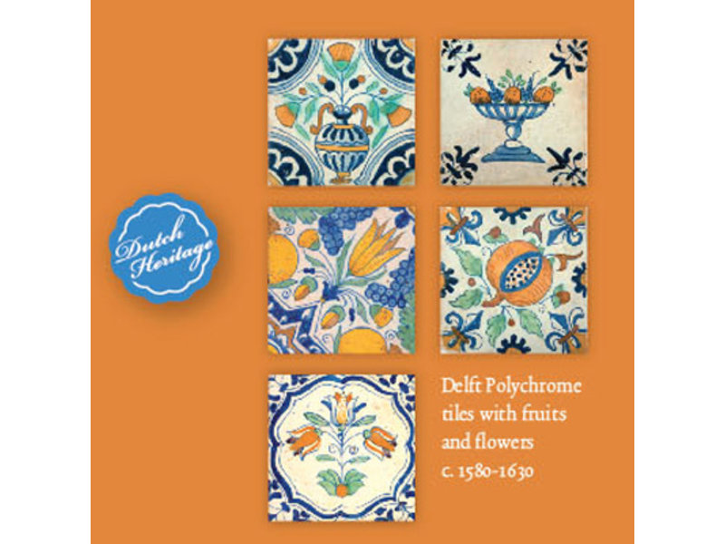 Porte-cartes, Carré, carreaux bleu Delft, Fruits et fleurs