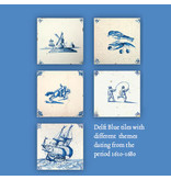 Card Wallet, Square, Delft Blue Tiles