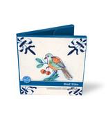 Porte-cartes, Carré, tuiles bleues de Delft, oiseaux