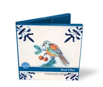 Cartera de tarjeta, cuadrada, azulejos azules de Delft, pájaros