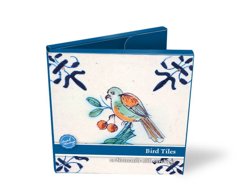 Kartengeldbörse, Quadrat, Delfter blaue Kacheln, Vögel