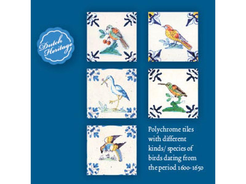 Kartenmappe, Quadrat, Delfter blaue Kacheln, Vögel