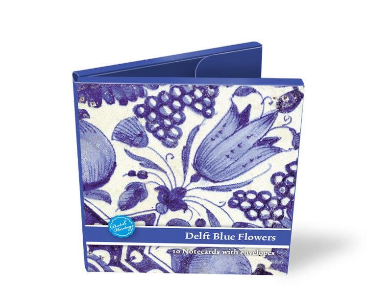 Porte-cartes, Carré, carreaux de fleurs bleues de Delft