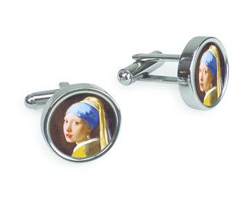 Boutons de manchette, Fille avec une boucle d'oreille perle, Vermeer