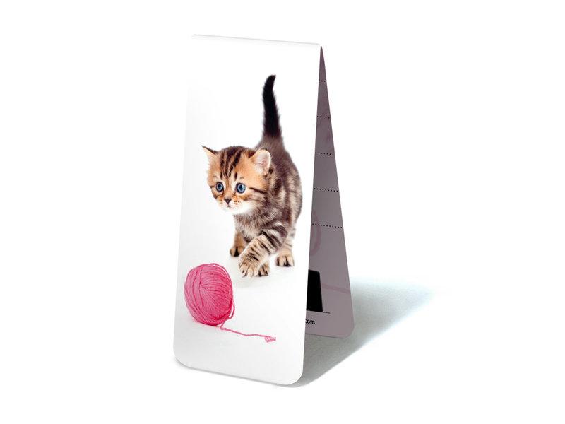 Magnetische Boekenlegger, Kitten, poesje met wol