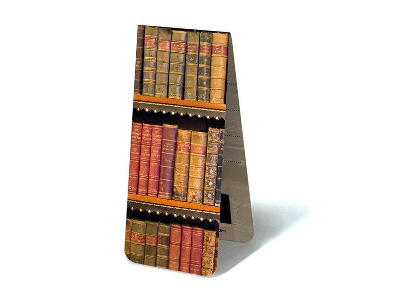Marcapaginas magnético, libros antiguos en un estante