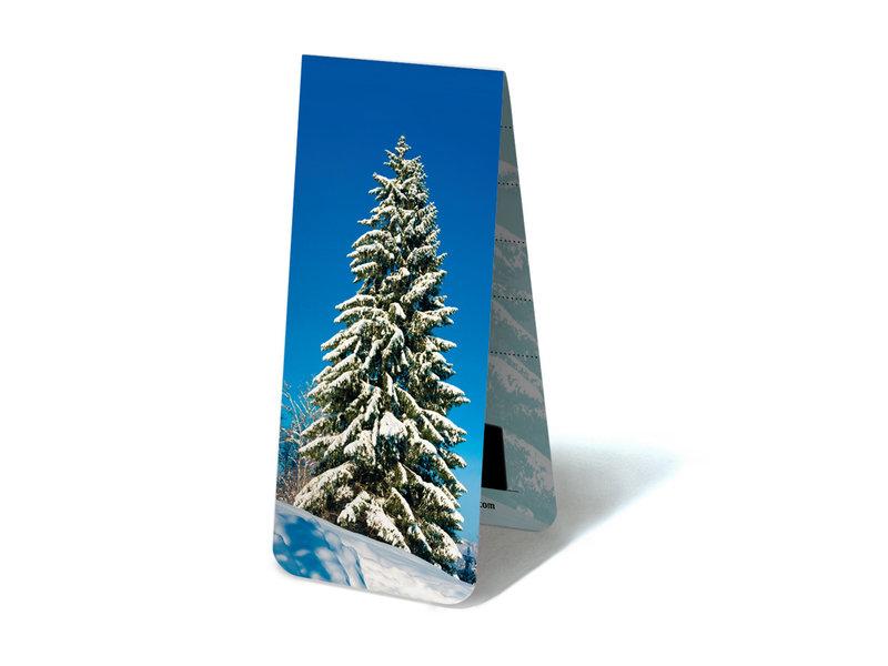 Marque-page magnétique, arbre enneigé